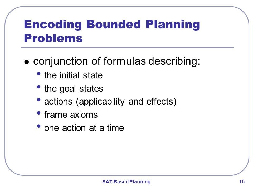SAT-Based Planning 15 Encoding Bounded Planning Problems conjunction of formulas describing: the initial state the goal states actions (applicability and effects) frame axioms one action at a time