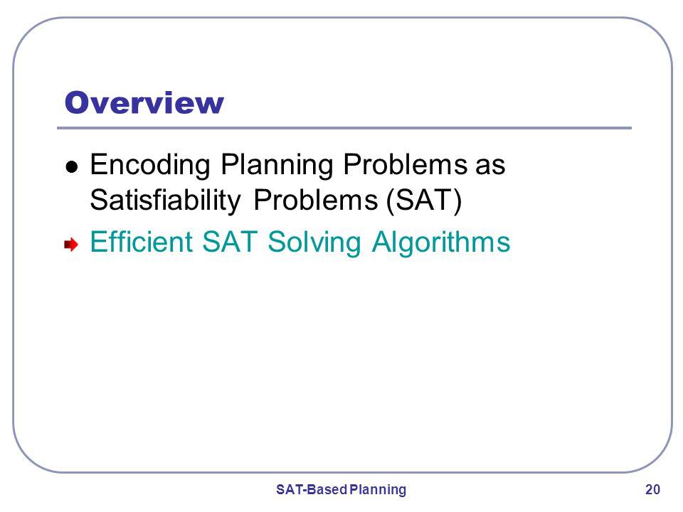 SAT-Based Planning 20 Overview Encoding Planning Problems as Satisfiability Problems (SAT) Efficient SAT Solving Algorithms