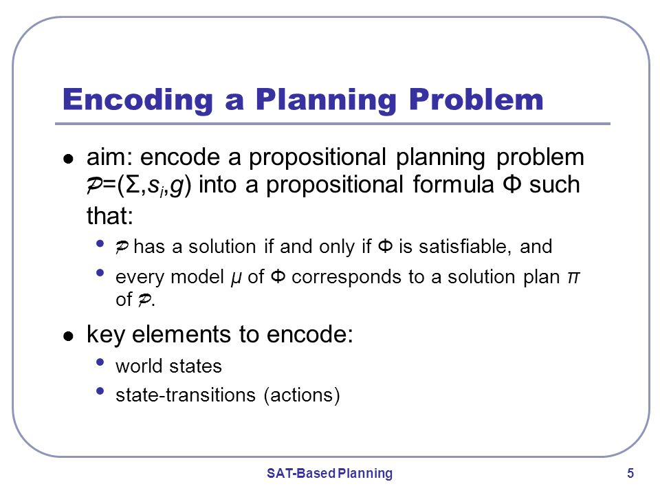 SAT-Based Planning 5 Encoding a Planning Problem aim: encode a propositional planning problem P =(Σ,s i,g) into a propositional formula Φ such that: P has a solution if and only if Φ is satisfiable, and every model μ of Φ corresponds to a solution plan π of P.