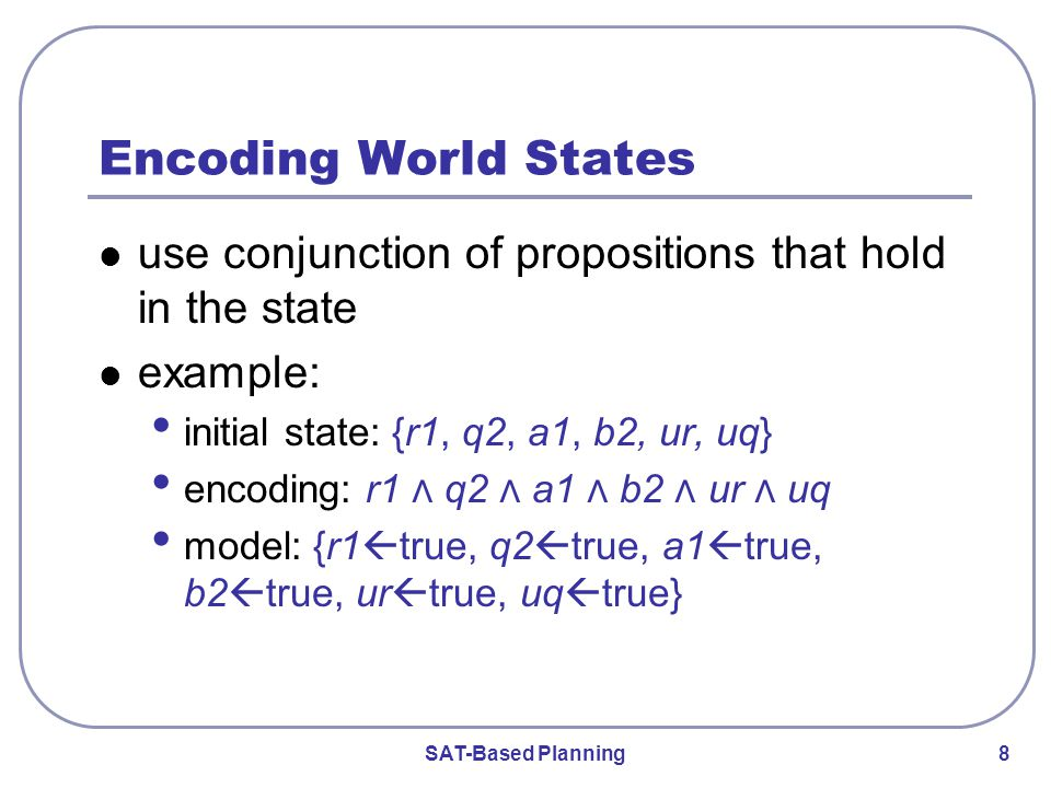 SAT-Based Planning 8 Encoding World States use conjunction of propositions that hold in the state example: initial state: {r1, q2, a1, b2, ur, uq} encoding: r1 ⋀ q2 ⋀ a1 ⋀ b2 ⋀ ur ⋀ uq model: {r1  true, q2  true, a1  true, b2  true, ur  true, uq  true }
