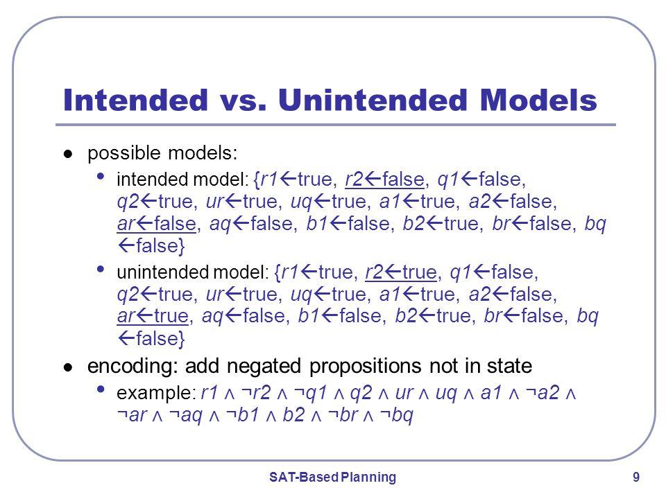 SAT-Based Planning 9 Intended vs.