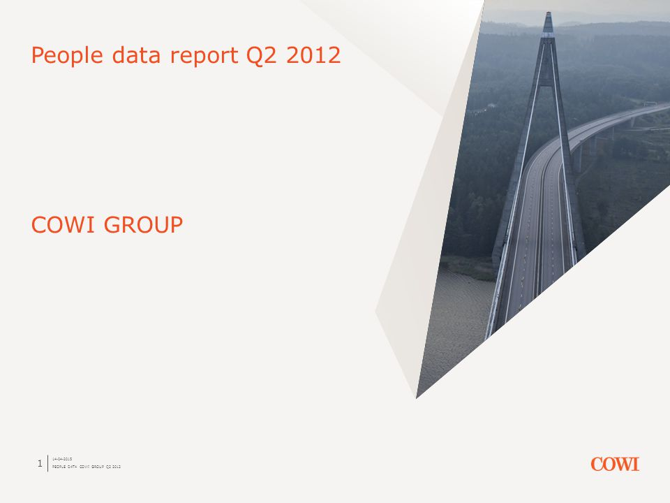 14-04-2015 PEOPLE DATA COWI GROUP Q2 2012 2 COWI Group at a glance Q2 2012 1) Shared services located in DK is enclosed in the headcount and target for COWI DK See next slide for breakdown on legal subsidiaries in COWI DK 2) Figures for engineering India also includes 18 non-billable employees Headcount: Number of employees % ΔYTD: Net growth in headcount as a percentage of headcount 31.12.2011.