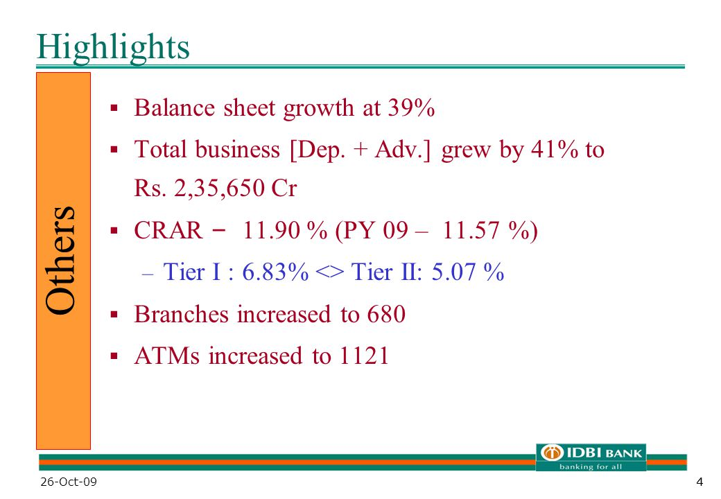 44 Highlights  Balance sheet growth at 39%  Total business [Dep.