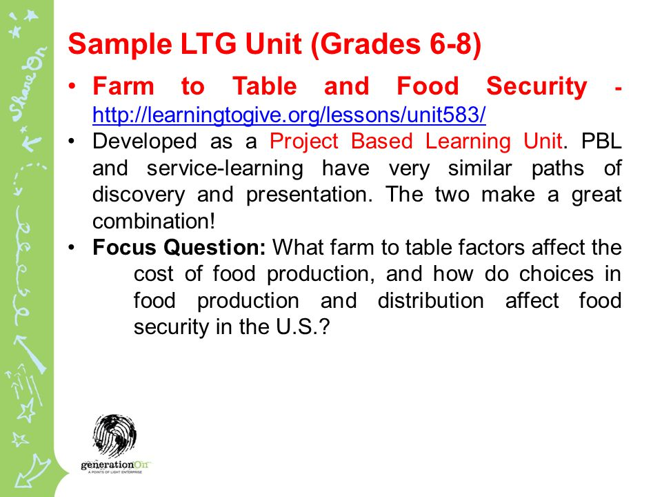 Sample LTG Unit (Grades 6-8) Farm to Table and Food Security Developed as a Project Based Learning Unit.
