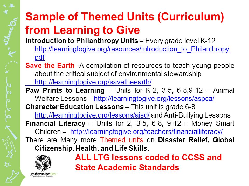 Sample of Themed Units (Curriculum) from Learning to Give Introduction to Philanthropy Units – Every grade level K-12