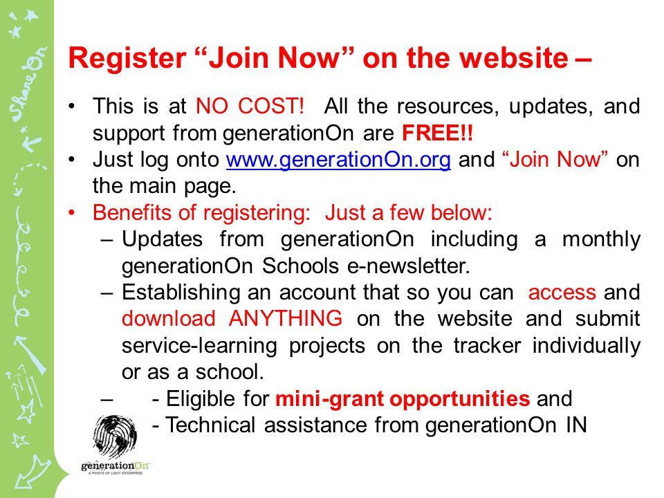 Register Join Now on the website – This is at NO COST.