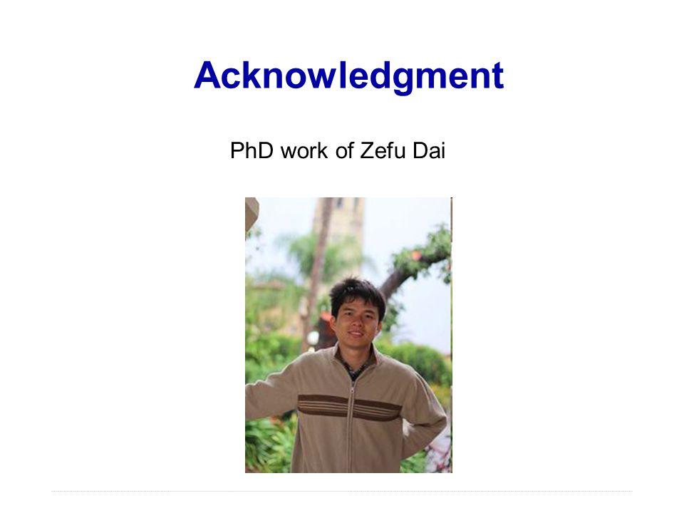 Acknowledgment PhD work of Zefu Dai