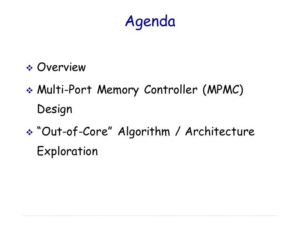 "Agenda  Overview  Multi-Port Memory Controller (MPMC) Design  ""Out-of-Core"" Algorithm / Architecture Exploration"