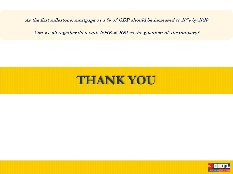 THANK YOU As the first milestone, mortgage as a % of GDP should be increased to 20% by 2020 Can we all together do it with NHB & RBI as the guardian o