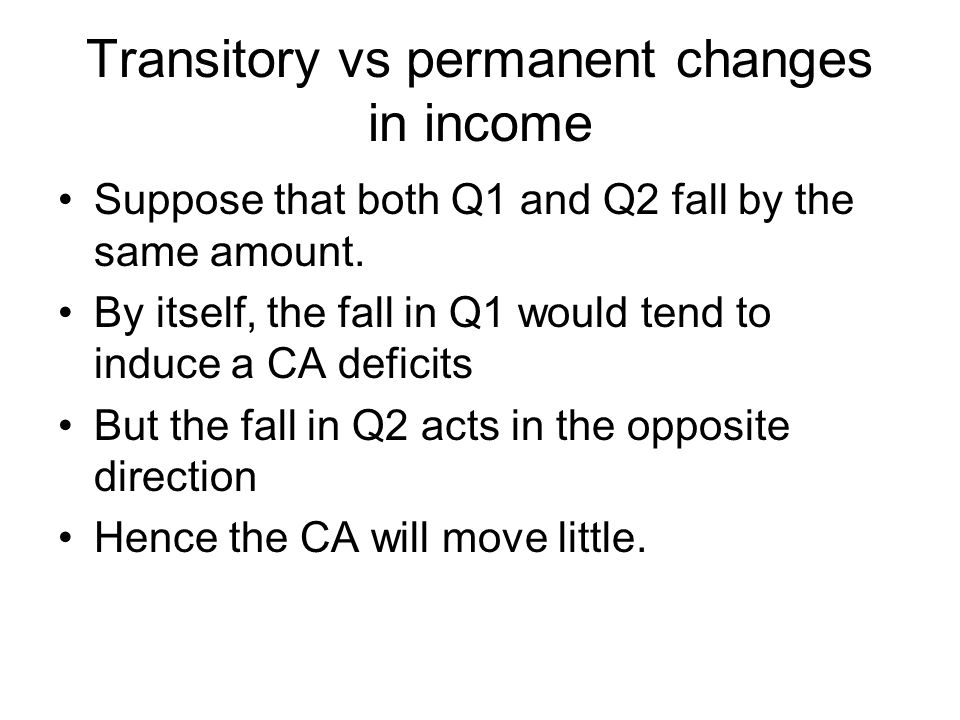 Transitory vs permanent changes in income Suppose that both Q1 and Q2 fall by the same amount.