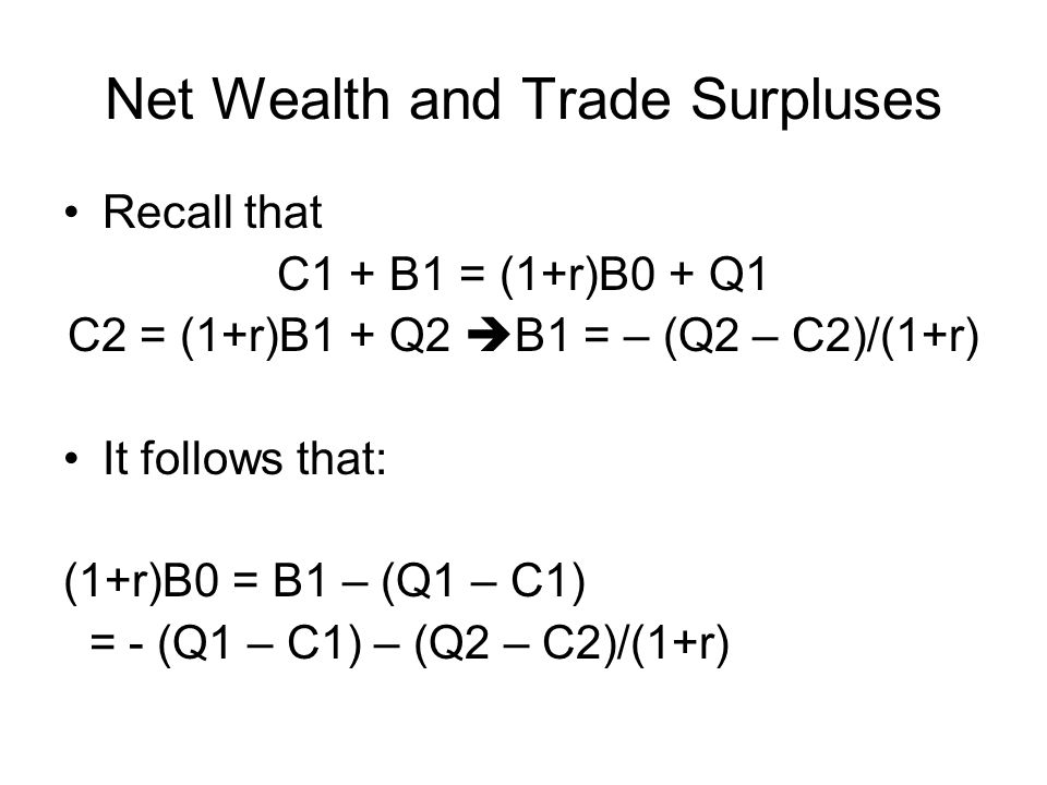 Net Wealth and Trade Surpluses Recall that C1 + B1 = (1+r)B0 + Q1 C2 = (1+r)B1 + Q2  B1 = – (Q2 – C2)/(1+r) It follows that: (1+r)B0 = B1 – (Q1 – C1) = - (Q1 – C1) – (Q2 – C2)/(1+r)