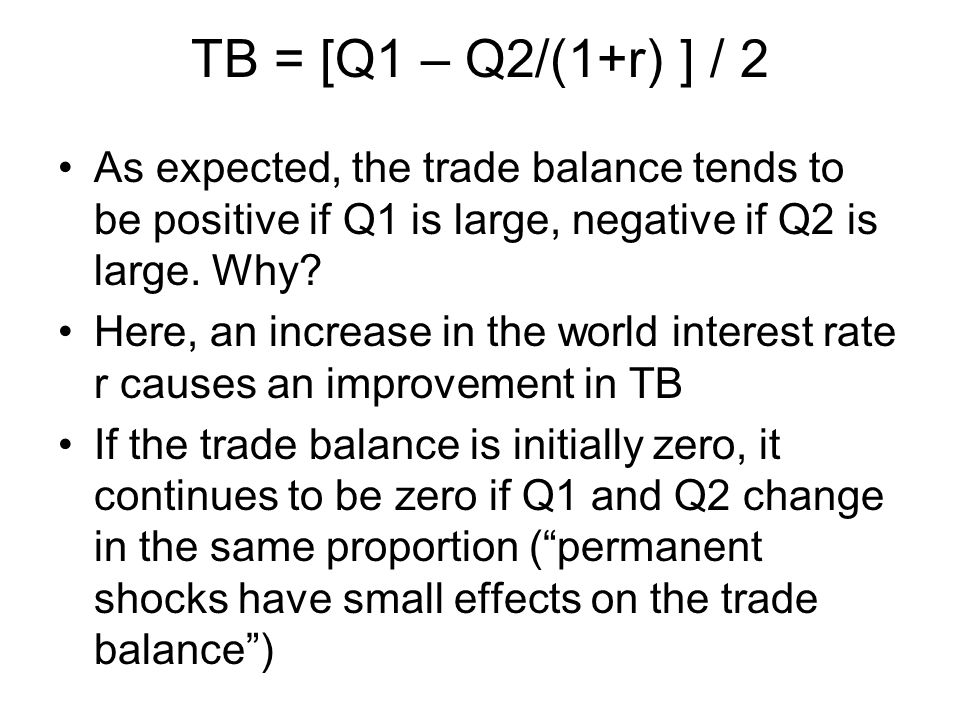 As expected, the trade balance tends to be positive if Q1 is large, negative if Q2 is large.
