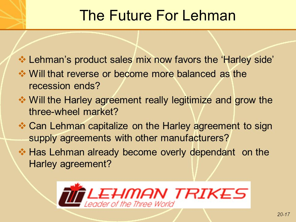 20-17 The Future For Lehman  Lehman's product sales mix now favors the 'Harley side'  Will that reverse or become more balanced as the recession ends.