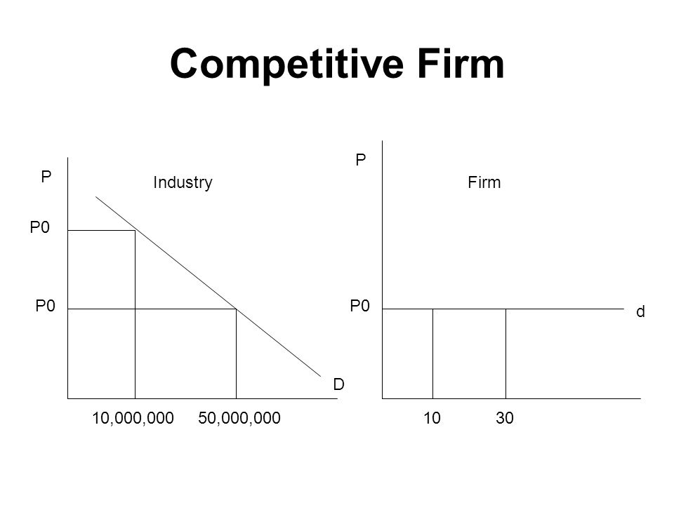 Competitive Firm P0 P P 10,000,00050,000,000 P0 3010 D d IndustryFirm