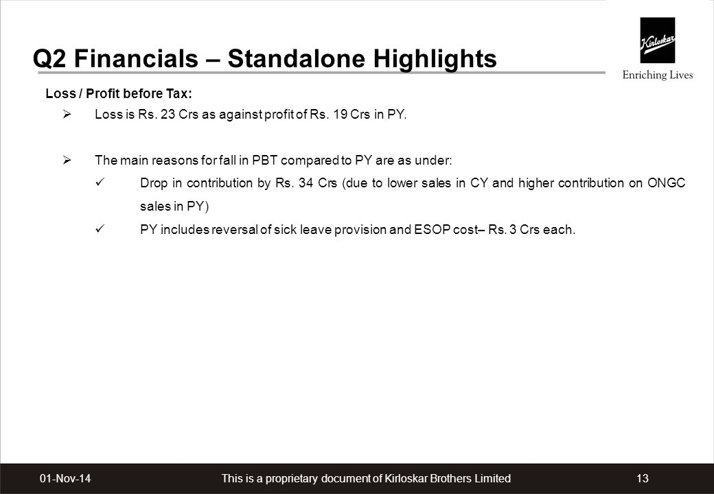 This is a proprietary document of Kirloskar Brothers Limited1301-Nov-14 Q2 Financials – Standalone Highlights Loss / Profit before Tax:  Loss is Rs.