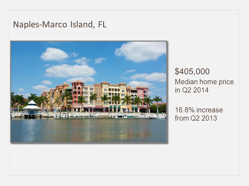 $405,000 Median home price in Q2 2014 16.8% increase from Q2 2013 Naples-Marco Island, FL