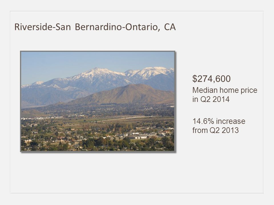 $271,000 Median home price in Q2 2014 14.3% increase from Q2 2013 Sacramento-Arden-Arcade-Roseville, CA