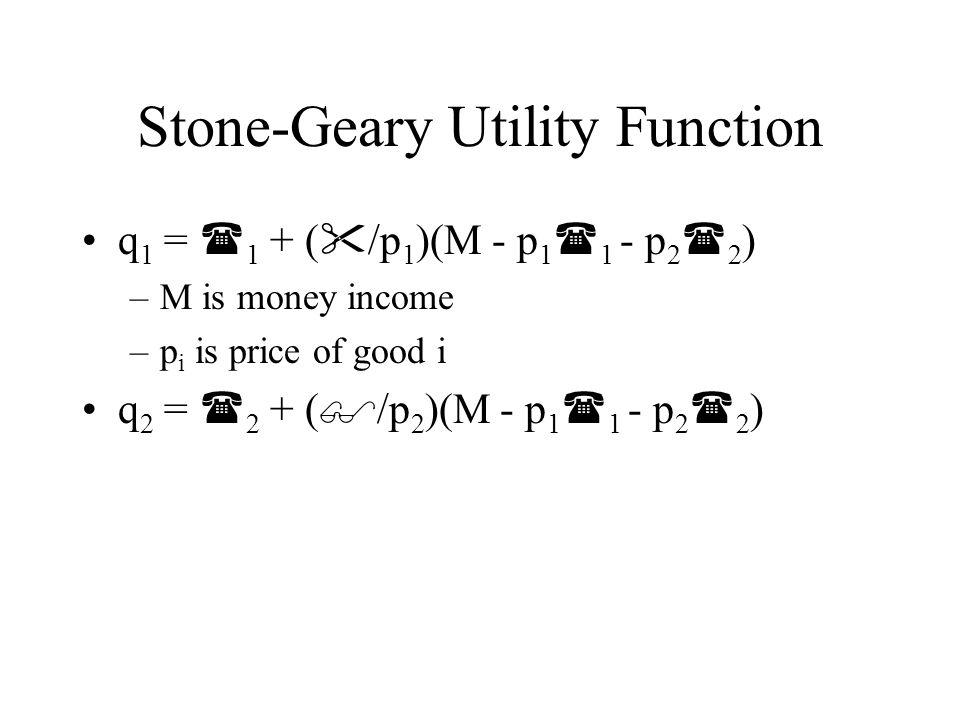 Stone-Geary Utility Function q 1 =  1 (1-  )+  (M/p 1 )- (p 2 /p 1 )   2 q 1 = a 0 + a 1 (M/p 1 ) + a 2 (p 2 /p 1 ) +  1 q 2 =  2  +  (M/p 2 )- (p 1 /p 2 )   1 q 2 = b 0 + b 1 (M/p 2 ) + b 2 (p 1 /p 2 ) +  2