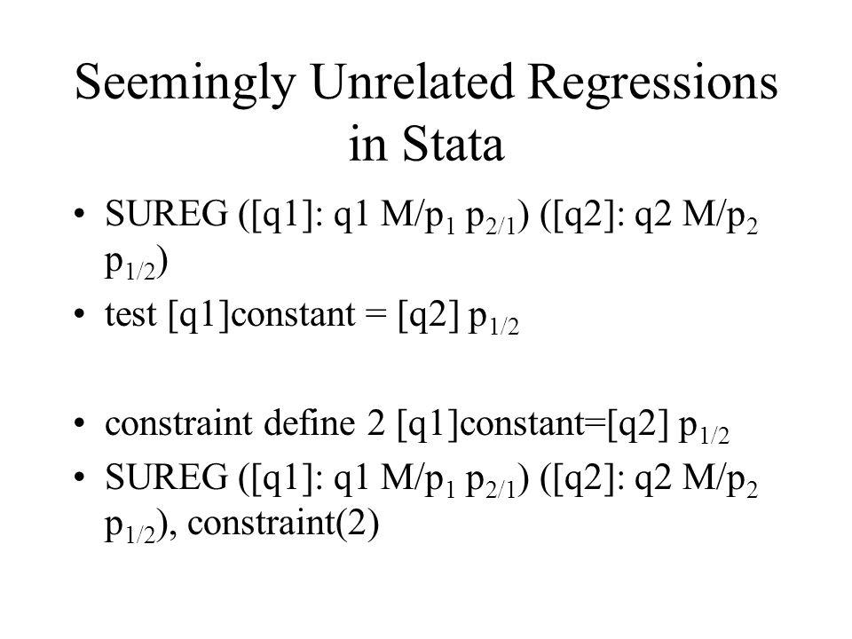 Seemingly Unrelated Regressions in Stata SUREG ([q1]: q1 M/p 1 p 2/1 ) ([q2]: q2 M/p 2 p 1/2 ) test [q1]constant = [q2] p 1/2 constraint define 2 [q1]