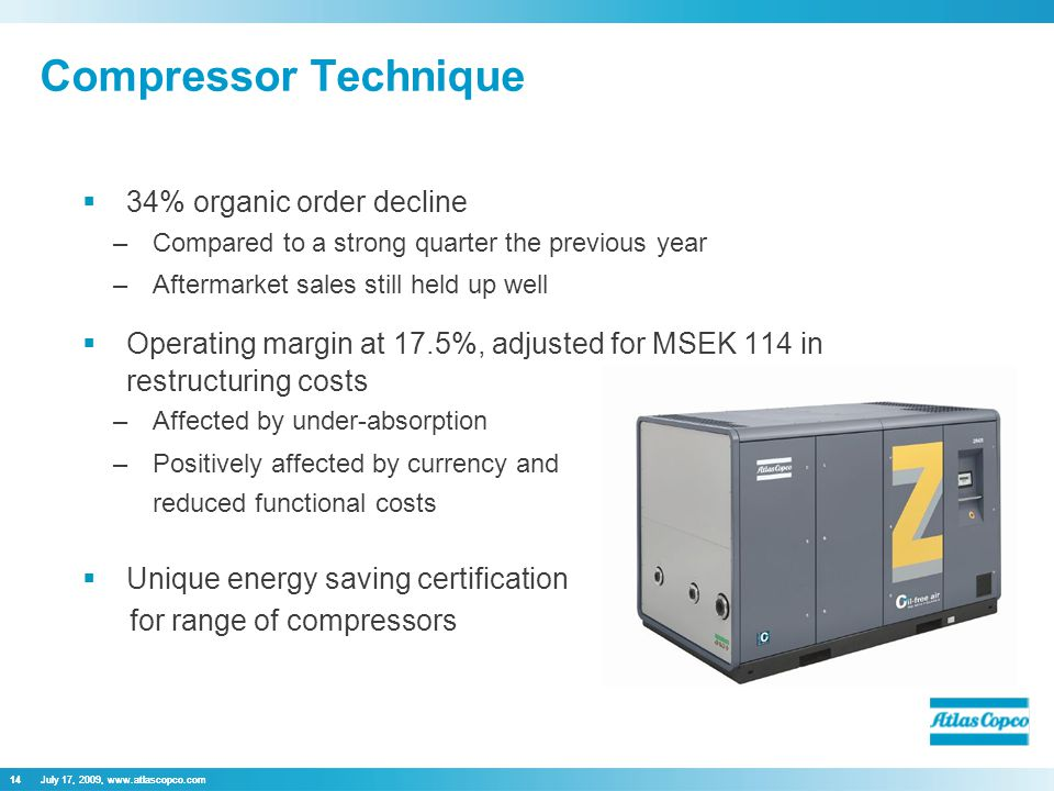 July 17, 2009, www.atlascopco.com14 Compressor Technique 14July 17, 2009, www.atlascopco.com  34% organic order decline –Compared to a strong quarter the previous year –Aftermarket sales still held up well  Operating margin at 17.5%, adjusted for MSEK 114 in restructuring costs –Affected by under-absorption –Positively affected by currency and  Unique energy saving certification for range of compressors reduced functional costs