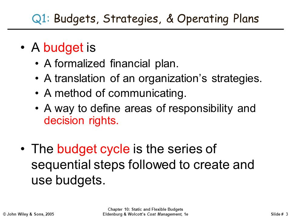 © John Wiley & Sons, 2005 Chapter 10: Static and Flexible Budgets Eldenburg & Wolcott's Cost Management, 1eSlide # 3 Q1: Budgets, Strategies, & Operat