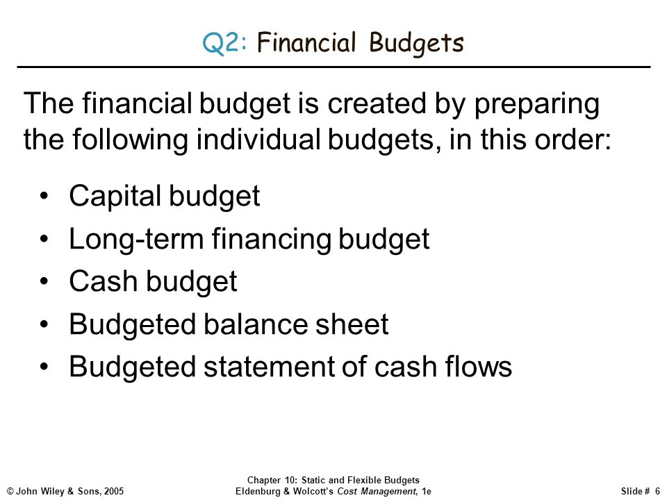 © John Wiley & Sons, 2005 Chapter 10: Static and Flexible Budgets Eldenburg & Wolcott's Cost Management, 1eSlide # 6 Q2: Financial Budgets Capital bud