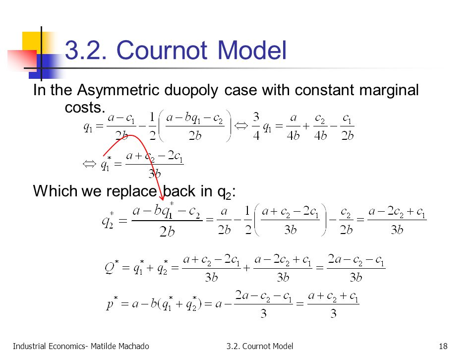 Industrial Economics- Matilde Machado3.2. Cournot Model18 3.2. Cournot Model In the Asymmetric duopoly case with constant marginal costs. Which we rep