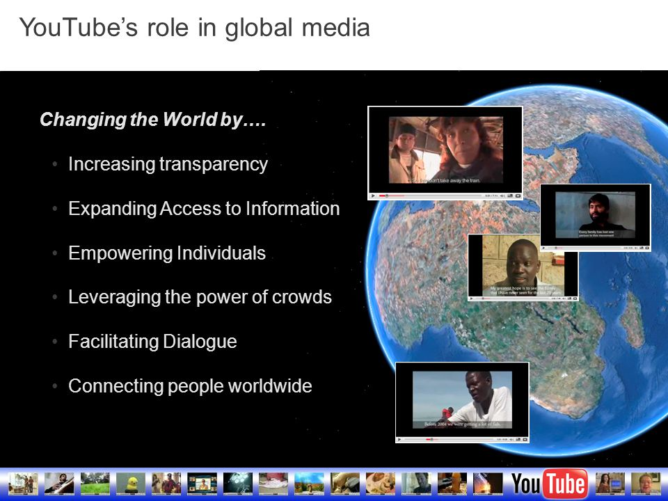 YouTube Confidential and Proprietary17 Changing the World by….