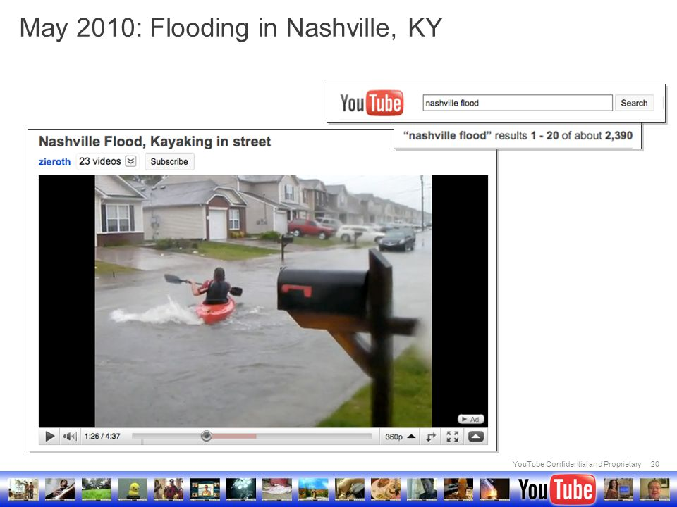 YouTube Confidential and Proprietary20 May 2010: Flooding in Nashville, KY
