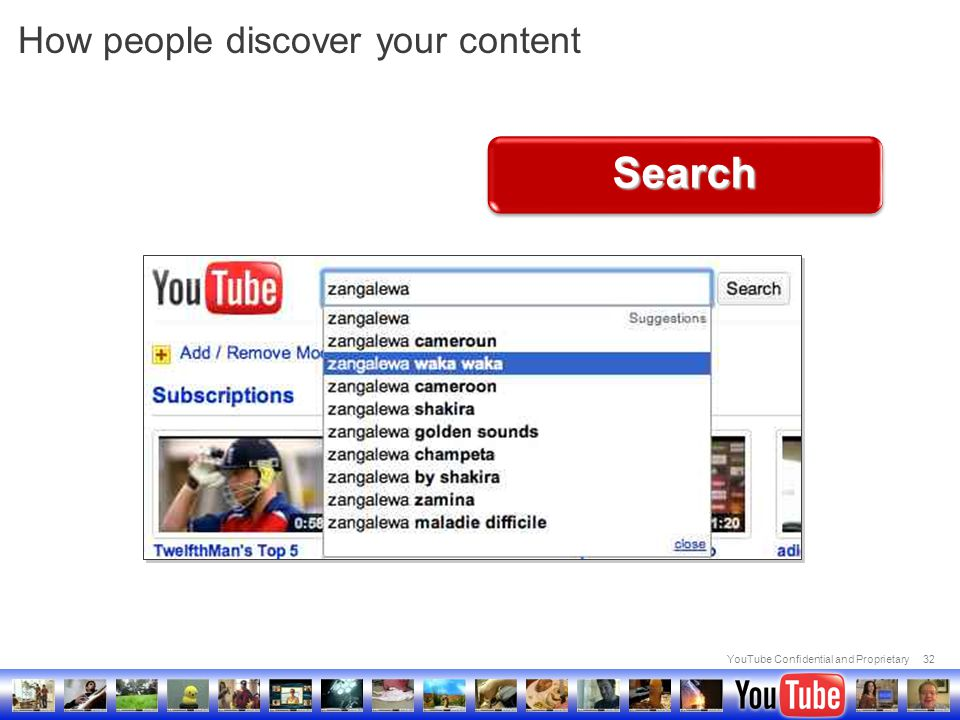 YouTube Confidential and Proprietary32 How people discover your content Search