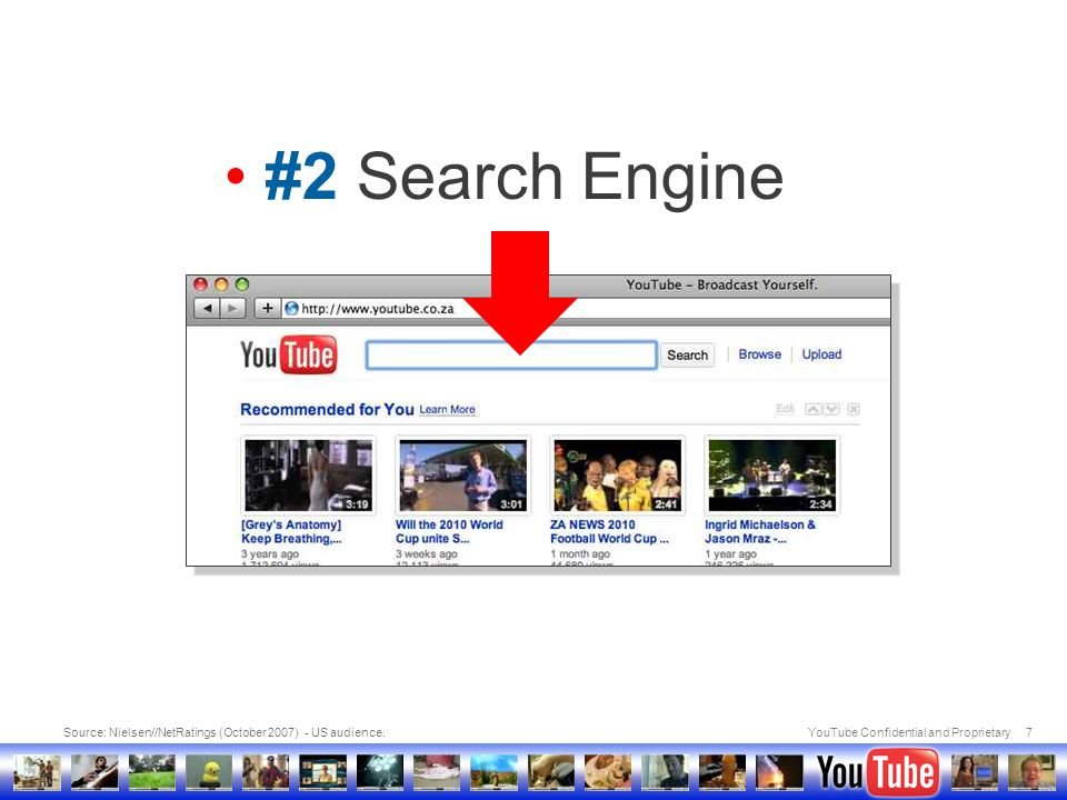 YouTube Confidential and Proprietary7 Source: Nielsen//NetRatings (October 2007) - US audience. #2 Search Engine