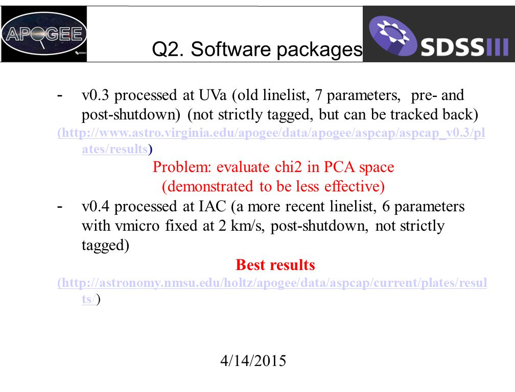 Q2. Software packages 4/14/2015 -v0.3 processed at UVa (old linelist, 7 parameters, pre- and post-shutdown) (not strictly tagged, but can be tracked b