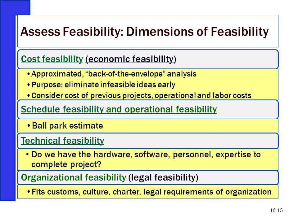 """Cost feasibilityCost feasibility (economic feasibility) Approximated, """"back-of-the-envelope"""" analysis Purpose: eliminate infeasible ideas early Consid"""