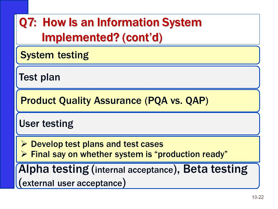 """System testing Test plan Product Quality Assurance (PQA vs. QAP) User testing  Develop test plans and test cases  Final say on whether system is """"pr"""