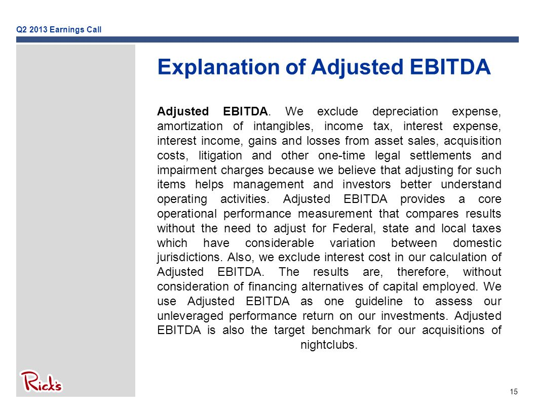 15 Explanation of Adjusted EBITDA Adjusted EBITDA.