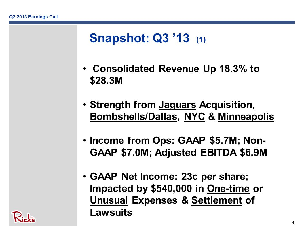 4 Snapshot: Q3 '13 (1) Consolidated Revenue Up 18.3% to $28.3M Strength from Jaguars Acquisition, Bombshells/Dallas, NYC & Minneapolis Income from Ops: GAAP $5.7M; Non- GAAP $7.0M; Adjusted EBITDA $6.9M GAAP Net Income: 23c per share; Impacted by $540,000 in One-time or Unusual Expenses & Settlement of Lawsuits Q2 2013 Earnings Call