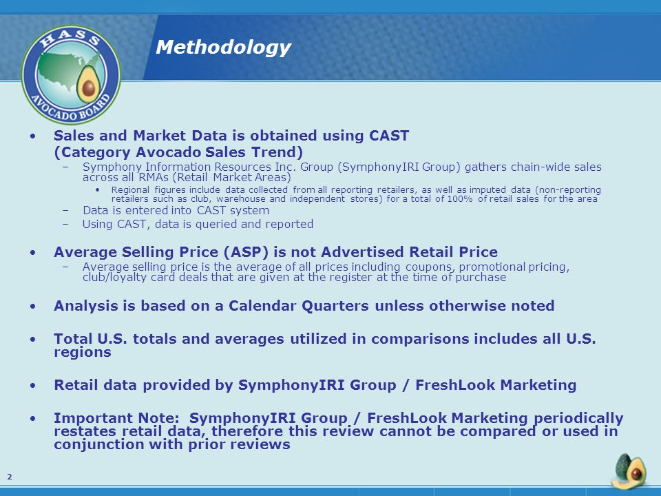 Methodology Sales and Market Data is obtained using CAST (Category Avocado Sales Trend) –Symphony Information Resources Inc.