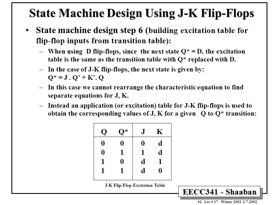 EECC341 - Shaaban #2 Lec # 17 Winter 2001 2-7-2002 State Machine Design Using J-K Flip-Flops State machine design step 6 ( building excitation table f