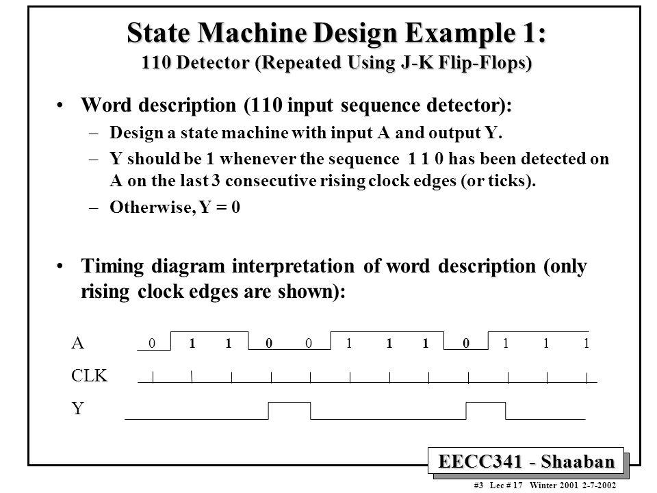 EECC341 - Shaaban #3 Lec # 17 Winter 2001 2-7-2002 State Machine Design Example 1: 110 Detector (Repeated Using J-K Flip-Flops) Word description (110