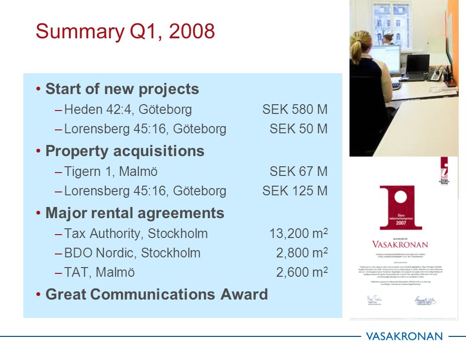 37 Market value 31 March SEK M 2008-03-312007-03-312006-03-31 Market value at January 1 45,23638,12232,827 Investments 508250171 Acquired properties 198971,025 Divested properties - -36 - Unrealized change in value162+ 0,4%497+1,3 %321+1,0 % Market value, March 31 46,10438,930 34, 344 Market value Q1, 2008 Internal update of previous quarter external appraisal Market value is affected by changes in market rent and yield requirements after reconciliation with DTZ and Newsec Market value is influenced by specific property occurrences