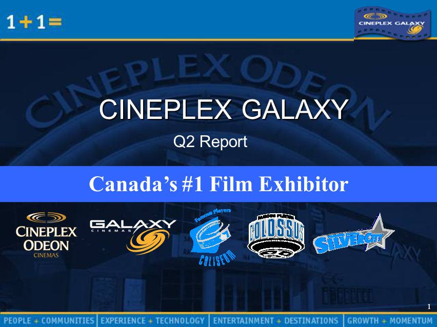 1 1 CINEPLEX GALAXY Canada's #1 Film Exhibitor Q2 Report