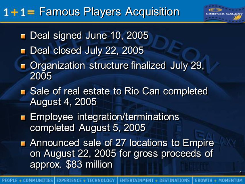 4 4 Famous Players Acquisition Deal signed June 10, 2005 Deal closed July 22, 2005 Organization structure finalized July 29, 2005 Sale of real estate to Rio Can completed August 4, 2005 Employee integration/terminations completed August 5, 2005 Announced sale of 27 locations to Empire on August 22, 2005 for gross proceeds of approx.