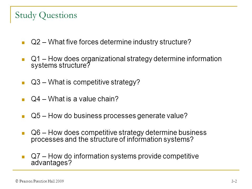 © Pearson Prentice Hall 20093-13 Q4 – What is a Value Chain.