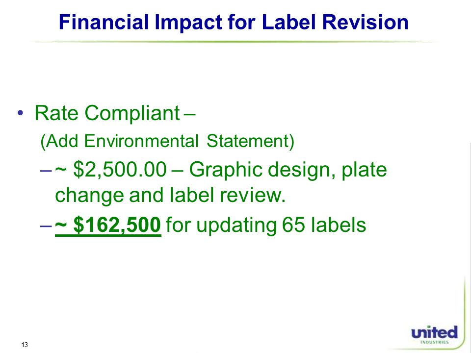 13 Financial Impact for Label Revision Rate Compliant – (Add Environmental Statement) –~ $2, – Graphic design, plate change and label review.
