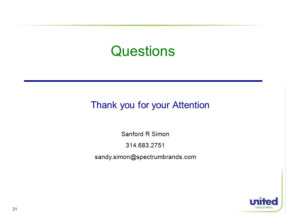 21 Questions Sanford R Simon Thank you for your Attention