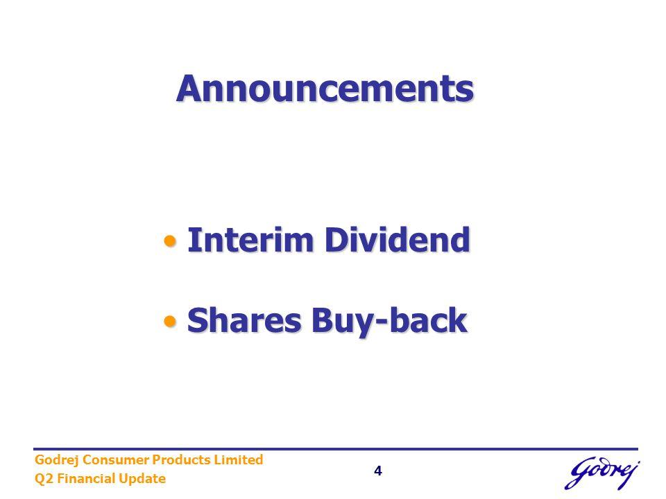 Godrej Consumer Products Limited Q2 Financial Update 5 Maiden Interim Dividend Q2 01-02 Interim Dividend (%) 50.0% Dividend per Share Rs.