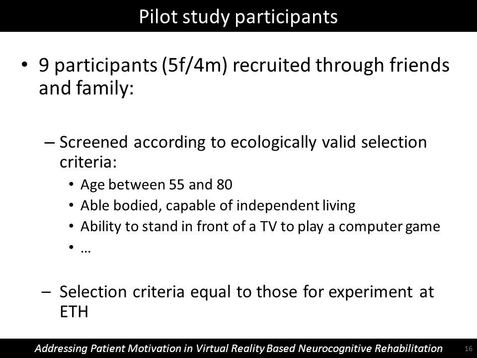 Pilot study participants Addressing Patient Motivation in Virtual Reality Based Neurocognitive Rehabilitation 9 participants (5f/4m) recruited through