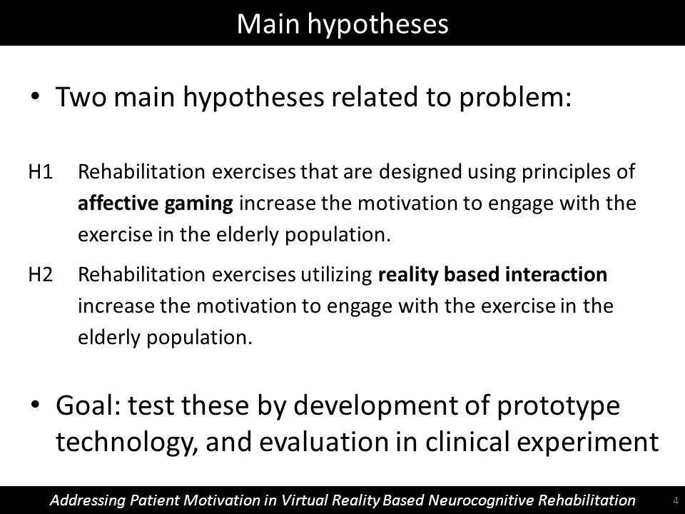 Main hypotheses Addressing Patient Motivation in Virtual Reality Based Neurocognitive Rehabilitation H1 Rehabilitation exercises that are designed using principles of affective gaming increase the motivation to engage with the exercise in the elderly population.
