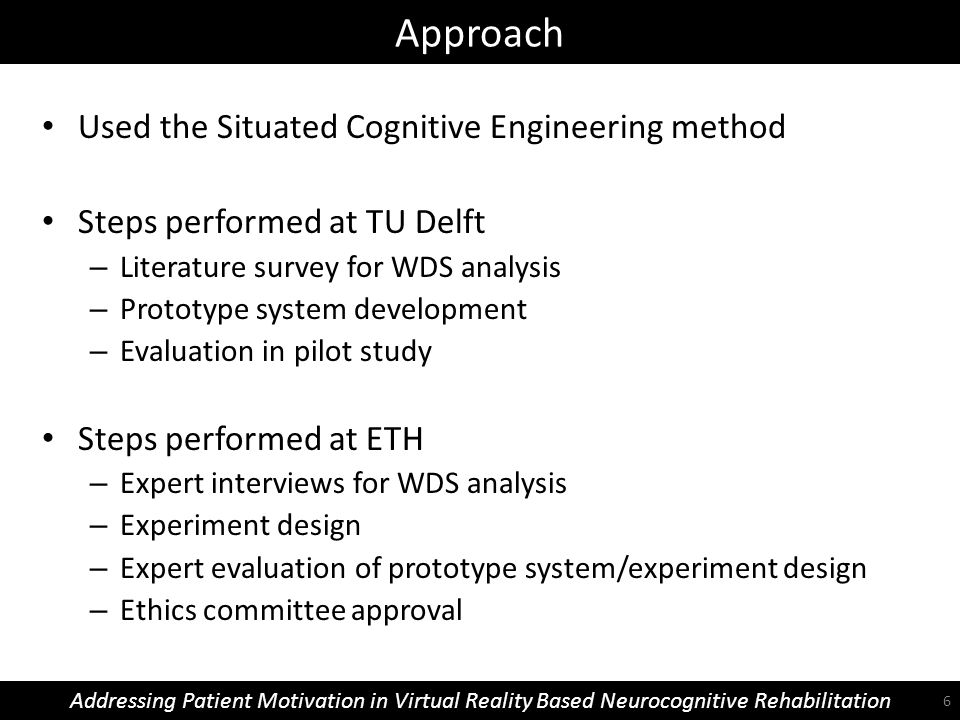 Approach Addressing Patient Motivation in Virtual Reality Based Neurocognitive Rehabilitation Used the Situated Cognitive Engineering method Steps per