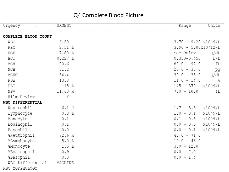 Q4 Complete Blood Picture